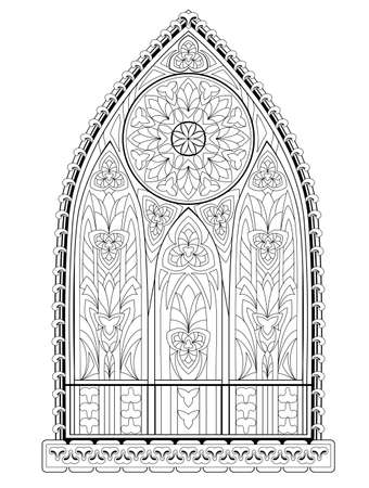 Beautiful Gothic stained glass window with rose. Medieval architecture in western Europe. Black and white fantasy drawing for coloring book. Worksheet for children and adults. Vector illustration. Illustration
