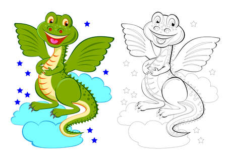 Colorful and black and white page for coloring book. Illustration of cute toy dragon. Printable worksheet for children exercise book. Online education. Flat cartoon vector. Animals for kids.