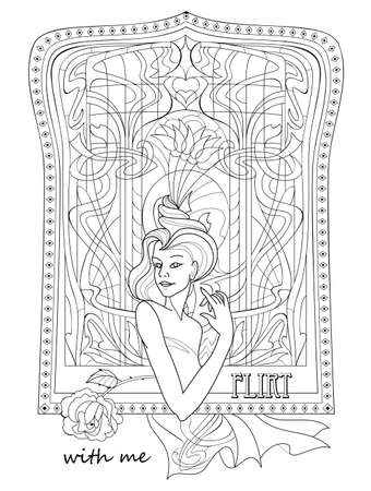 Fantasy drawing of beautiful girl near window. Black and white page for coloring book. Modern print for fashion, beauty, embroidery, decoration. Art nouveau style. Flirt with me. Hand-drawn vector. Illustration