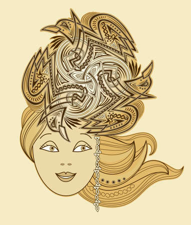 Illustration of fabulous Celtic fairy with fashionable hairstyle. Abstract portrait of beautiful girl ornate by trickle symbol. Print for decoration, tattoo, beauty and fashion party. Illustration