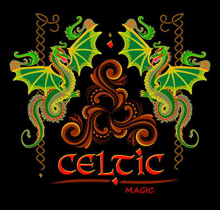 Fantasy drawing of Celtic dragons and Triskele disk symbol. Breton folk ethnic sign. Print for logo, icon, fabric, embroidery, decoration. Geometric circle triple spiral ornament. Vector illustration. Zdjęcie Seryjne - 152268457