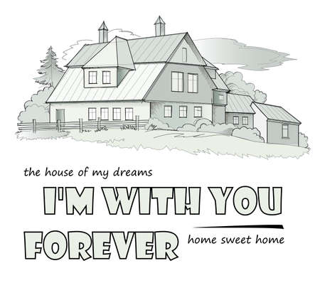 Abstract illustration of the house of my dreams. Print for clothes, fabric, background and embroidery. Poster for building and architecture company. Hand drawn vector sketch of country village.