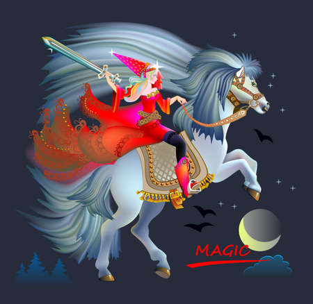 Fantasy illustration of Celtic fairy with sword riding a horse. Breton folk ethnic legend. Cover for children fairy tale book. Print, fabric, embroidery, decoration. Vector drawing.