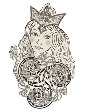 Illustration of fabulous Viking fairy. Abstract portrait of beautiful girl ornate by trickle symbol. Print for decoration, tattoo, beauty and fashion party. Old Scandinavian drawing style.
