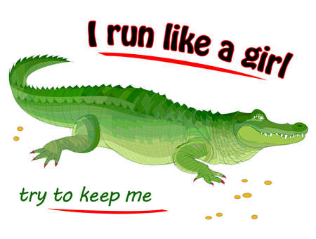 Fantastic illustration of cute crocodile with lettering. Modern fairy tale print for fashionable fabric, textile, decoration, embroidery. I run like a girl, try to keep me. Hand-drawn animal. Zdjęcie Seryjne - 152502837