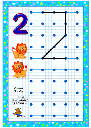 Educational page for little children on square paper. Connect the dots. Draw the number by example. Developing writing skills. Printable worksheet for kids school textbook. IQ test. Online playing. Zdjęcie Seryjne - 152503085