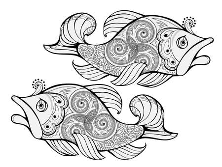 Fantasy drawing of imaginary fairy tale fishes decorated with Celtic trickle ornament. Black and white ethnic print for t-shirt, embroidery, tattoo, decoration. Coloring book. Hand-drawn vector. Zdjęcie Seryjne - 153176868