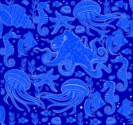 Seamless pattern ornament with beautiful underwater life and maritime decoration. Sea background. Modern popular print ornate for wall-paper and textile. Vector cartoon image. Zdjęcie Seryjne - 153176879