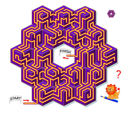 Logic puzzle game with labyrinth for children and adults. 3D maze. Find the way from start to finish. Worksheet for kids brain teaser book. IQ test. Online playing. Flat vector. Zdjęcie Seryjne - 154043728