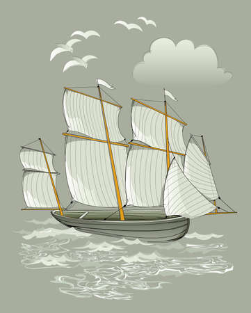 Abstract drawing for travel company. Fantasy illustration of ancient Viking sailboat. Maritime background with Celtic ship. Hand-drawn vector sketch on graphic tablet. Zdjęcie Seryjne - 154043738
