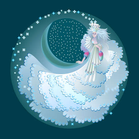 Illustration of fabulous winter fairy. Abstract portrait of beautiful snow queen from fairyland. Print for decoration, logo, beauty and fashion party. Round medallion with women in white dress. Logo