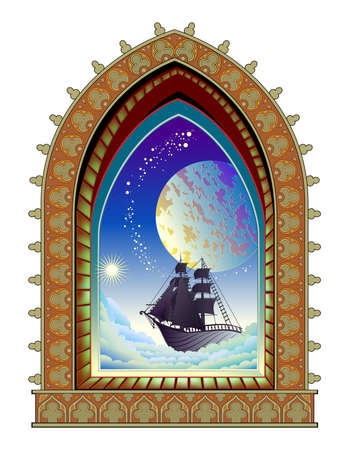 Fantasy illustration of old medieval window and futuristic view with flying sailboat between clouds. Cover for kids fairy tale book or travel company. Abstract background.