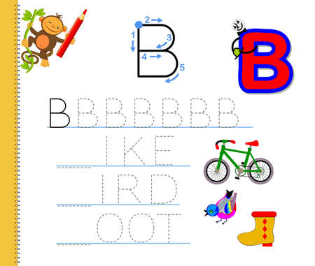Learn to trace letter B. Study English words. Worksheet for children. Education game with ABC for kindergarten. Developing kids skills for writing and reading. Vector cartoon illustration.