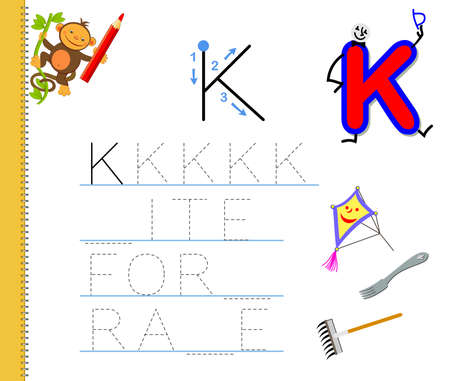 Learn to trace letter K. Study English words. Worksheet for children. Education game with ABC for kindergarten. Developing kids skills for writing and reading. Vector cartoon illustration. Zdjęcie Seryjne - 155363920