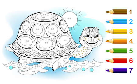 Math education for little children. Coloring book. Mathematical exercises on addition and subtraction. Solve examples and paint the turtle. Developing counting skills. Printable worksheet for kids. Zdjęcie Seryjne - 155363773