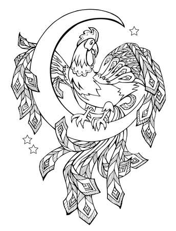 Black and white page for baby coloring book. Illustration of cute fairyland cock. Printable template for kids. Worksheet  pattern for children and adults. Hand-drawn image.
