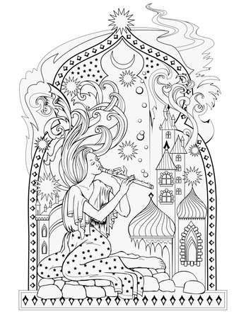 Black and white page for kids coloring book. Illustration of eastern fairyland. Beautiful dreamy fairy playing music near the window. Worksheet for drawing and meditation for children and adults.
