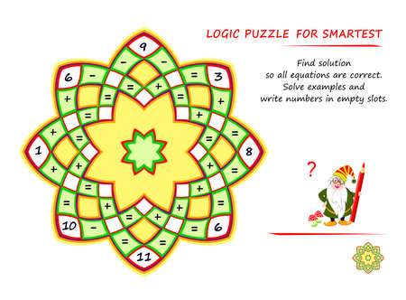Math logic puzzle game for smartest. Find solution so all equations are correct. Solve examples and write numbers in empty slots. Page for brain teaser book. Memory training exercises for seniors.
