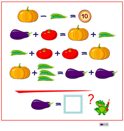 Mathematical logic puzzle game for smartest. How much is the eggplant? Solve examples and count the price of all vegetables. Page for brain teaser book. Memory training exercises for seniors.