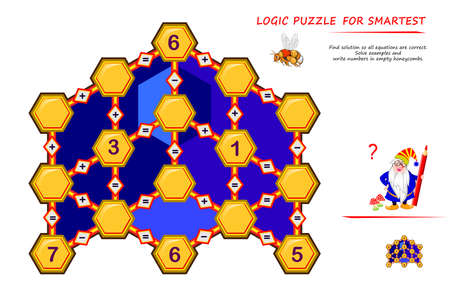 Math logic puzzle game for smartest. Find solution so all equations are correct. Solve examples and write numbers in empty honeycombs. Page for brain teaser book. Memory training exercises.