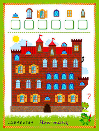 Count the number of windows and write numbers worksheet for school textbook 向量圖像