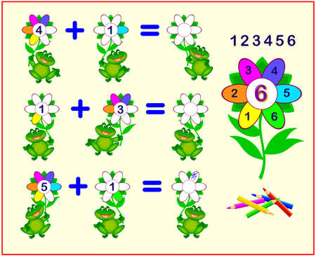 Count the petals and paint them correctly colors worksheet for kids coloring book. 向量圖像