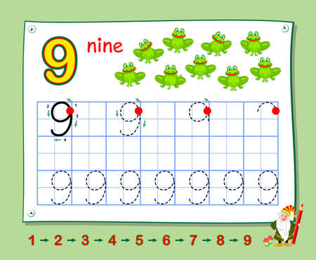 Mathematical education for little children. Learn write numbers. Printable worksheet for school textbook. Kids activity sheet. Developing counting skills. Trace number nine.