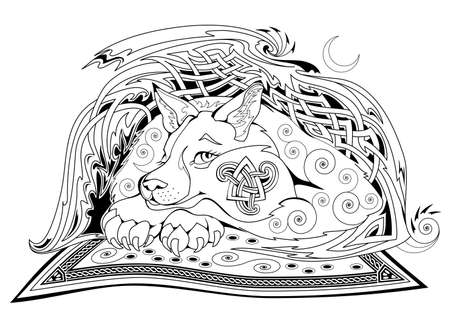 Black and white page coloring book. Fantasy Celtic animal from ancient legend with Triskele symbol. Modern print for fabric and tattoo. Worksheet for drawing and meditation for children and adults.