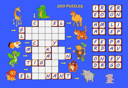 Crossword puzzle for children with animals. Logic game. Find the correct places for all blocks with letters. Educational page for children to study English. Printable worksheet for kids textbook.