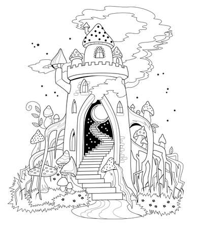 Black and white page for coloring book. Illustration of fairyland kingdom in forest. Printable template for kids. Worksheet for drawing and meditation for children and adults. Cover for fairy tale.