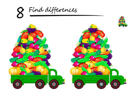 Find 8 differences. Illustration of lorry delivering vegetables. Logic puzzle game for children and adults. Brain teaser book for kids. Play online. Developing counting skills. IQ test.