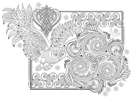 Black and white page for kids coloring book. Fantasy illustration of ancient Celtic ornament with trickle symbol and flying owl. Worksheet for drawing and meditation for children and adults. Stock Illustratie