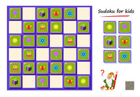 Sudoku for kids. Logic puzzle game for children and adults. Play online. Memory training exercises for seniors. Printable page for brain teaser book. IQ test.