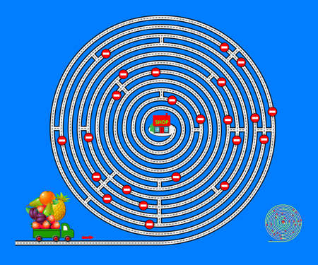 Logic puzzle game with labyrinth for children and adults. Help the lorry deliver fruits to the shop. Find the way. Worksheet for kids brain teaser book. IQ test. Play online. Vector illustration.