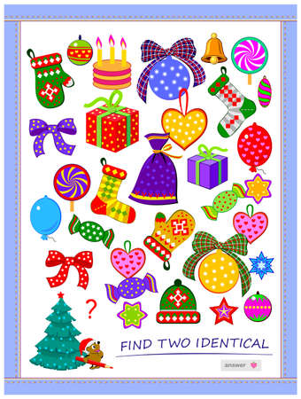 Logic puzzle game for children and adults. Find two identical Christmas gifts. Memory training exercises for seniors. Printable page for kids brain teaser book. Developing spatial thinking. IQ test.
