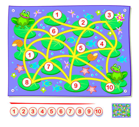 Learn count numbers. Math education for little children. Draw the line from 1 to 10. IQ test. Logic puzzle game with labyrinth. Printable worksheet for kids textbook. Play online.