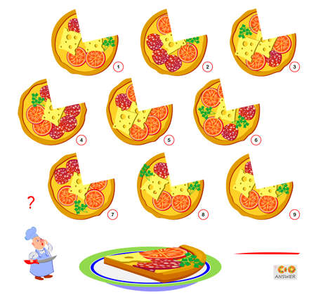 Logic puzzle game for children and adults. Find the pizza that cook has cut off the slice. Page for kids brain teaser book. IQ test. Play online. Memory exercise for seniors.