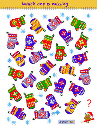 Logic puzzle game for children and adults. Find the pair for each mitten. Which is the only one? Printable page for kids brain teaser book. IQ test. Play online. Memory training task for seniors.