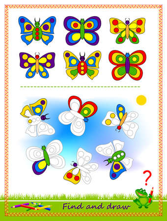 Educational game for kids. Find the butterflies and draw them by example. Printable worksheet for children school textbook. Developing coloring and drawing skills. Baby coloring book. Play online.
