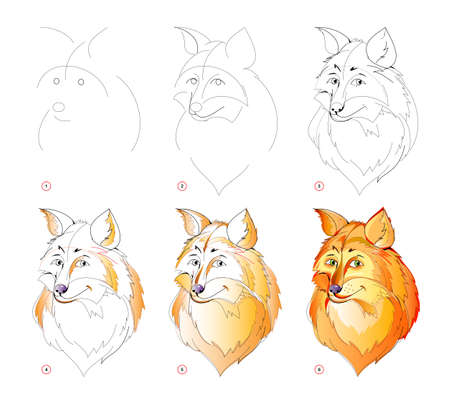 How to learn to draw sketch of cute sly foxes head. Creation step by step watercolor painting. Educational page for artists. Textbook for developing artistic skills. Online education.