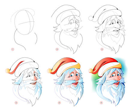 How to learn to draw sketch of cute Santa Claus. Creation step by step watercolor painting. Educational page for artists. Textbook for developing artistic skills. Online education. 向量圖像