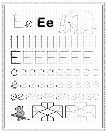 Educational page on square paper for kids. Black and white printable worksheet for children school textbook. Developing skills of counting, drawing, writing and tracing. Sheet for online education.