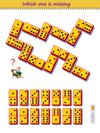 Logic puzzle game for children and adults. Which domino piece from set is missing on the picture? Kids brain teaser book. Play online. Memory training for seniors. Developing spatial thinking skills.