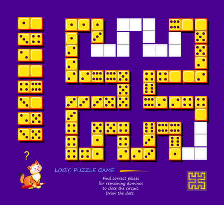 Logic puzzle game for children and adults. Find correct places for remaining dominoes to close the circuit. Draw the dots. Printable page for kids brain teaser book. Memory exercise for seniors.