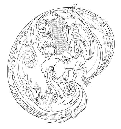 Black and white page coloring book. Fantasy illustration of Pegasus from ancient legend. Fairyland horse. Print for fabric and tattoo. Worksheet for drawing and meditation for children and adults. 向量圖像