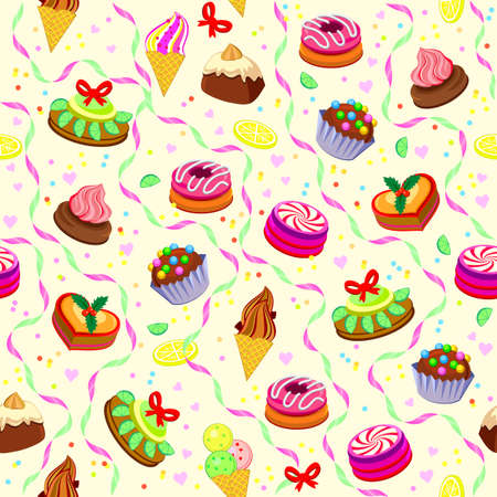 Seamless pattern ornament with tasty cakes and sweets. Beautiful wrapping paper for bakery and pastry shop. Modern print for wall-paper, gifts and textile. Flat vector illustration. Zdjęcie Seryjne - 161836409