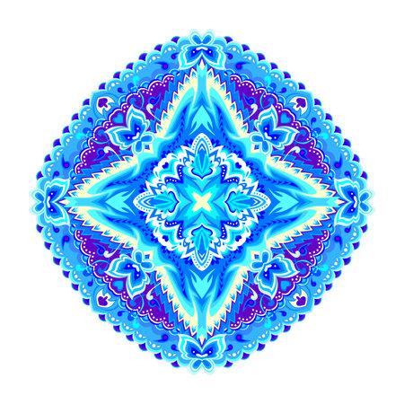 Round geometric mandala with ethnic motifs. Medallion with fantasy oriental ornament. Indian traditional pattern. Print for logo, fabric, tattoo, embroidery, decoration. Beautiful background. Zdjęcie Seryjne - 161836407