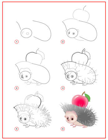 How to draw cute little hedgehog with apple. Educational page for children. Creation step by step prehistoric animal illustration. Printable worksheet for kids school exercise book. Online education.