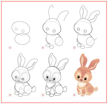 How to draw cute little Easter rabbit. Educational page for children. Creation step by step prehistoric animal illustration. Printable worksheet for kids school exercise book. Online education.