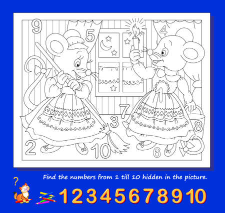 Logic puzzle game. Math education for young children. Find the numbers from 1 to 10 hidden in the picture and paint them. Coloring book. Developing counting skills. IQ test. Worksheet for kids.